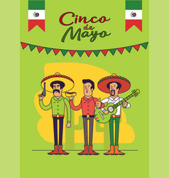 Cinco de mayo poster design mexicans characters vector