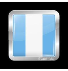 Flag of Guatemala Metal Icon Square Shape vector image vector image