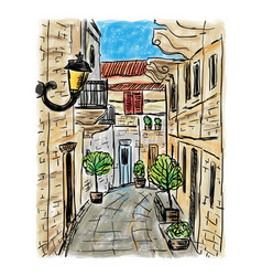 mediterranean town painting vector image