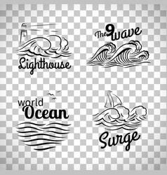 Ocean wave logo set vector