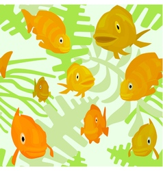 seamless pattern with fishes and algae vector image