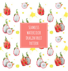 dragonfruit exotic seamless pattern vector image vector image