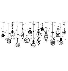 hanging christmas ornaments of ball on border vector image
