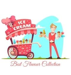 Ice cream vendor with cart best flavour vector