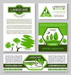 Landscape design business banner template set vector