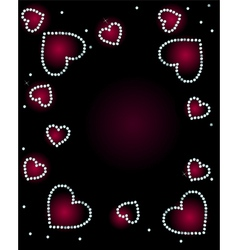 Abstract Background With Diamond Hearts vector image vector image