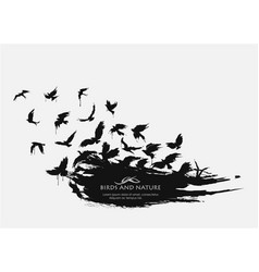 brushstroke texture grunge with birds flying vector image vector image