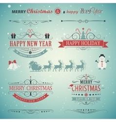 Christmas set labels emblems vector image vector image