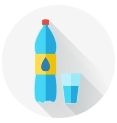 Flat design of water bottle and glass of water vector image