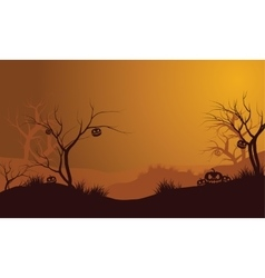 Halloween dry forest and pumpkins silhouette vector image