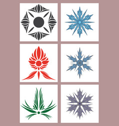 set of flowers logo template vector image vector image