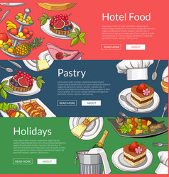 web banner templates with hand drawn vector image