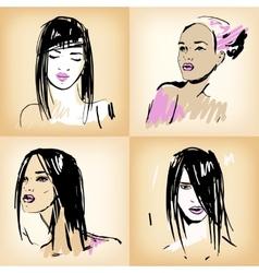 Beautiful girls set vector image