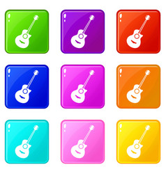 classical guitar set 9 vector image