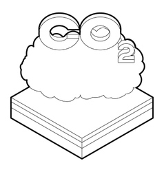 CO2 cloud icon in outline style vector image
