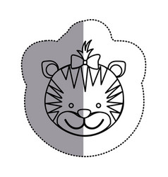 contour face tiger ribbon bow head icon vector image