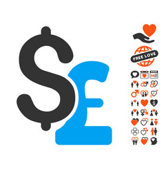 dollar and pound icon with valentine bonus vector image vector image