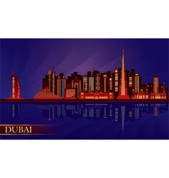Dubai night city skyline silhouette vector