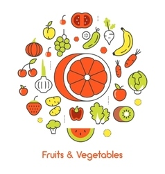 Fruits and Vegetables Thin Line Icons vector image vector image