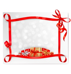 holiday background red bows and red ribbons vector image