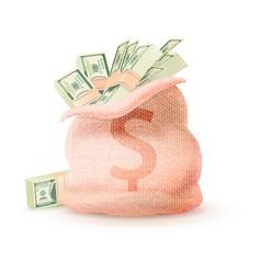 open linen sack dollar sign full money vector image