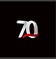 70 years anniversary celebration number black vector