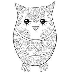 adult coloring bookpage a cute owl image vector image