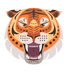 Angry tiger head logo decorative emblem vector