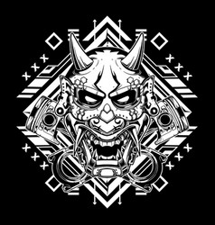 Black and white japanese demon mask with tribal vector