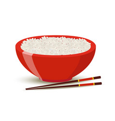 Boiled rice in red bowl cartoon style vector