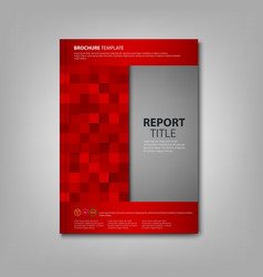 Brochures book or flyer with red squares template vector image