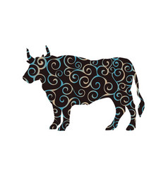 bull buffalo farm mammal spiral pattern color vector image