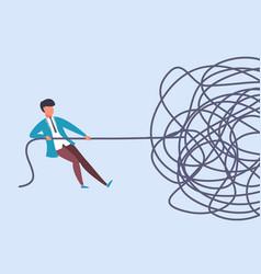 Businessman pulls rope complex problem solving vector