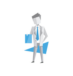 businessman standing with documents in his hands vector image