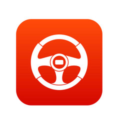 car steering wheel icon digital red vector image