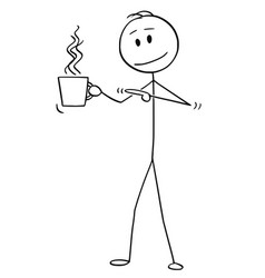cartoon of man holding and pointing at cup of hot vector image