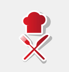 chef with knife and fork sign new year vector image