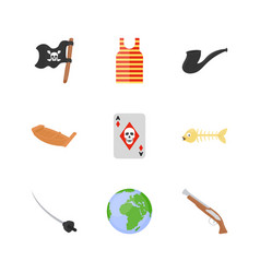 collection of pirates flat icons vector image