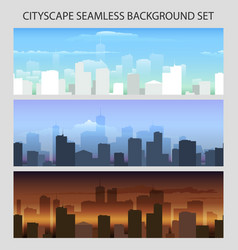 colorful seamless cityscape set vector image
