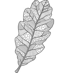 coloring book page with oak leaf vector image