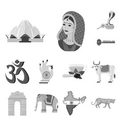 Country india monochrome icons in set collection vector