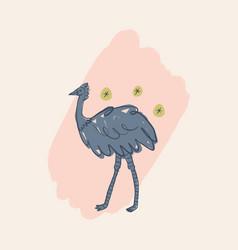 cute cassowary bird cartoon doodle australian vector image