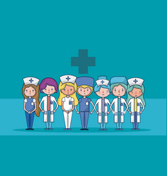 cute medical team cartoons vector image
