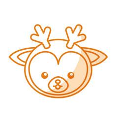 cute shadow deer face cartoon vector image