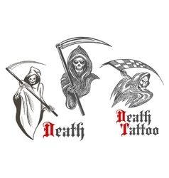 Death tattoo design with sketched grim reapers vector