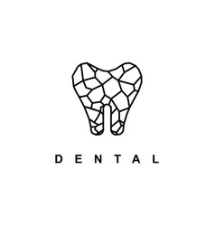 dental logo with crack concept stone vector image