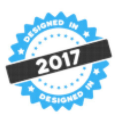 designed in 2017 stamp halftone icon vector image