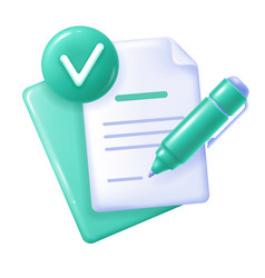 Documents icon with check mark and pen vector