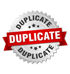Duplicate round isolated silver badge vector