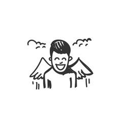 Euphoria feeling icon outline sketch drawing vector